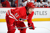Jeff Skinner of the Carolina Hurricanes prepares for a faceoff during an NHL game against the New York Islanders at PNC Arena on March 26 2016 in...
