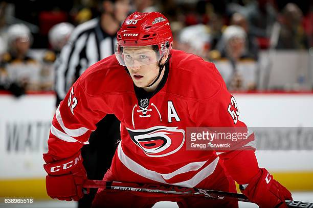 Jeff Skinner of the Carolina Hurricanes prepares for a faceoff during an NHL game against the Boston Bruins on December 23 2016 at PNC Arena in...