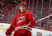 Jeff Skinner of the Carolina Hurricanes prepares for faceoff during a NHL game against the Florida Panthers at PNC Arena on December 18 2015 in...