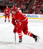 Jeff Skinner of the Carolina Hurricanes prepares to take a shot on goal during their NHL game against the Detroit Red Wings at PNC Arena on April 11...