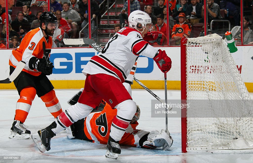 Jeff Skinner of the Carolina Hurricanes reacts after scoring a second period goal against Michal Neuvirth of the Philadelphia Flyers on December 15...