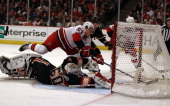 Jeff Skinner of the Carolina Hurricanes scores a goal in the 3rd period over Corey Crawford of the Chicago Blackhawks at the United Center on March 4...