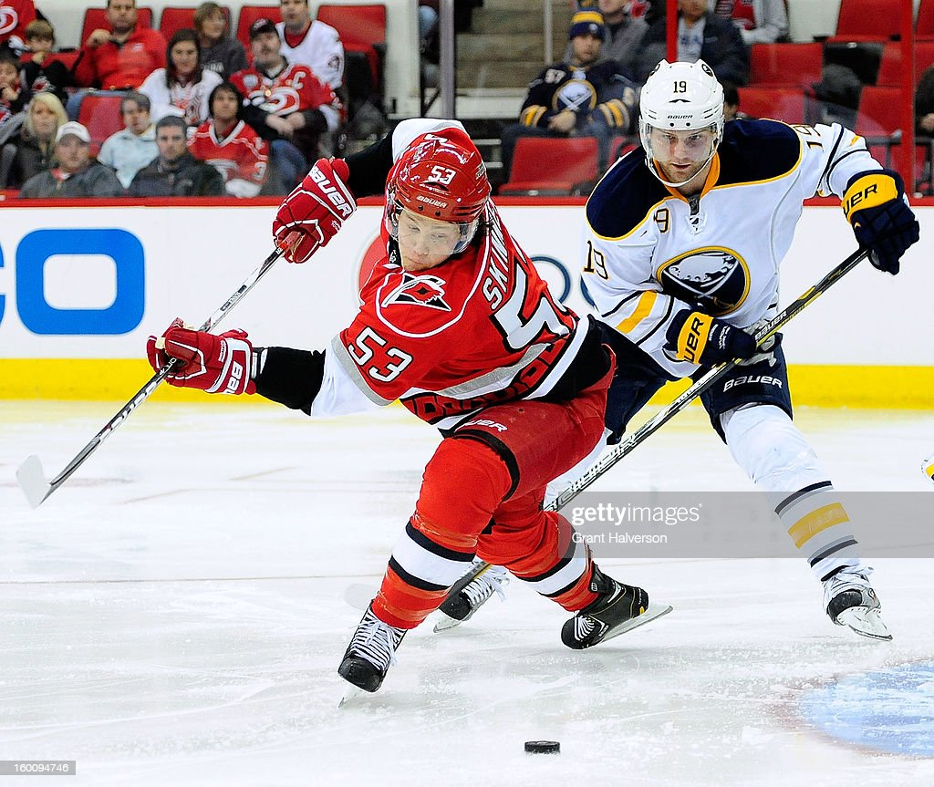 Jeff Skinner #53 of the Carolina Hurricanes scores a second period goal against the Buffalo Sabres at PNC Arena on January 24, 2013 in Raleigh, North Carolina.