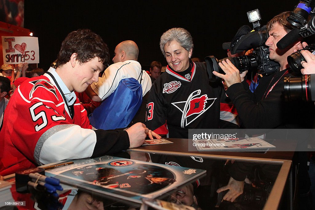 Jeff Skinner of the Carolina Hurricanes signs autographs for fans during the NHL Fan Fair part of 2011 NHL All-Star Weekend at the Raleigh Convention Center on January 28, 2011 in Raleigh, North Carolina.