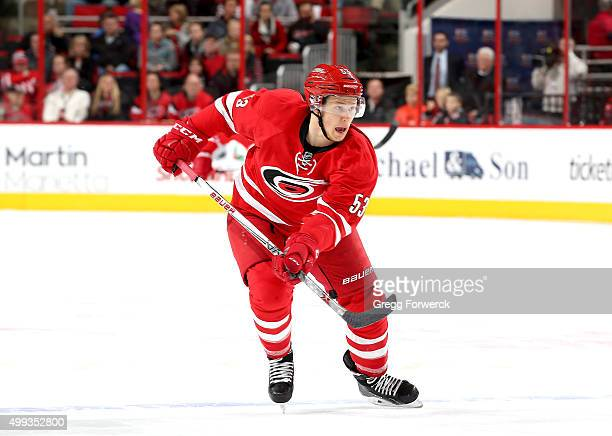 Jeff Skinner of the Carolina Hurricanes skates across the blueline during a NHL game against the Edmonton Oilers at PNC Arena on November 25 2015 in...