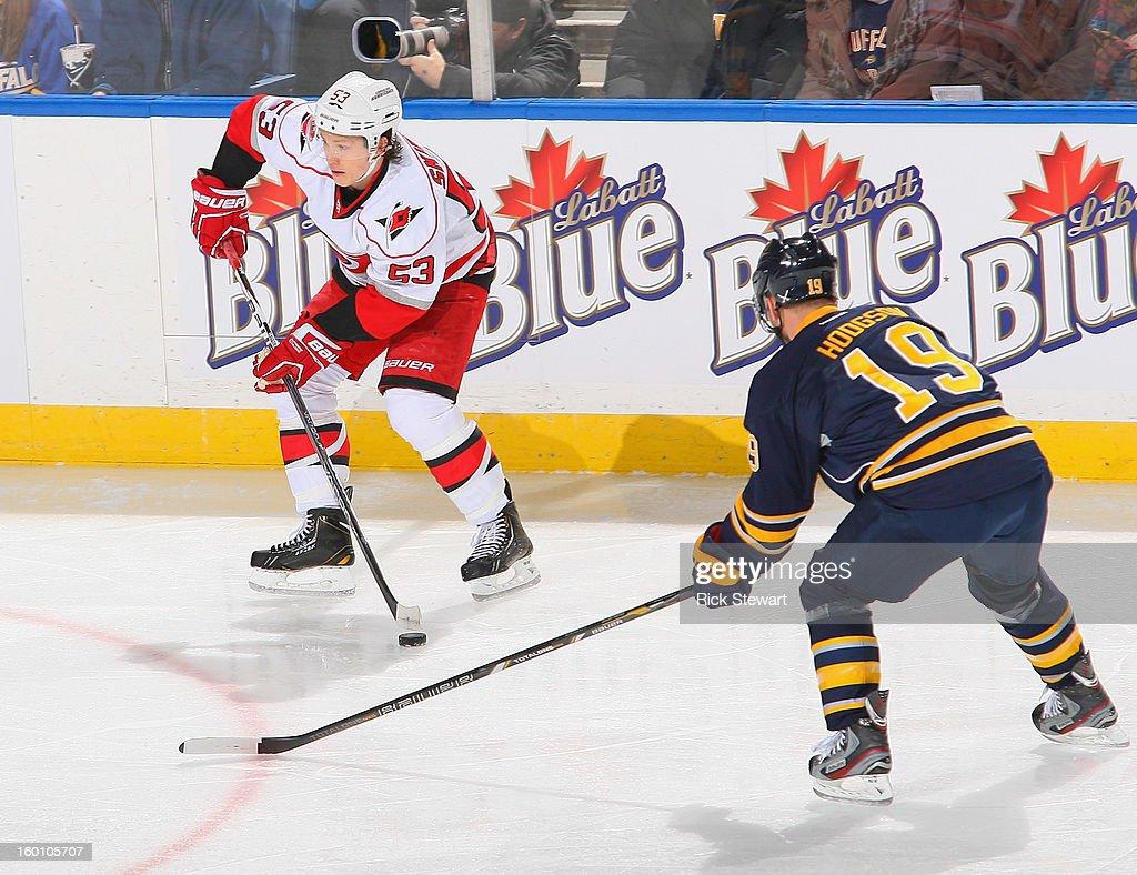 Jeff Skinner #53 of the Carolina Hurricanes skates against Cody Hodgson #19 of the Buffalo Sabres at First Niagara Center on January 25, 2013 in Buffalo, New York.Carolina won 3-1.