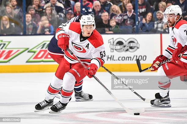 Jeff Skinner of the Carolina Hurricanes skates against the Columbus Blue Jackets on January 21 2017 at Nationwide Arena in Columbus Ohio