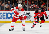 Jeff Skinner of the Carolina Hurricanes skates against the New Jersey Devils at the Prudential Center on December 29 2015 in Newark New Jersey The...