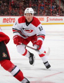 Jeff Skinner of the Carolina Hurricanes skates against the Ottawa Senators at Canadian Tire Centre on March 31 2014 in Ottawa Ontario Canada