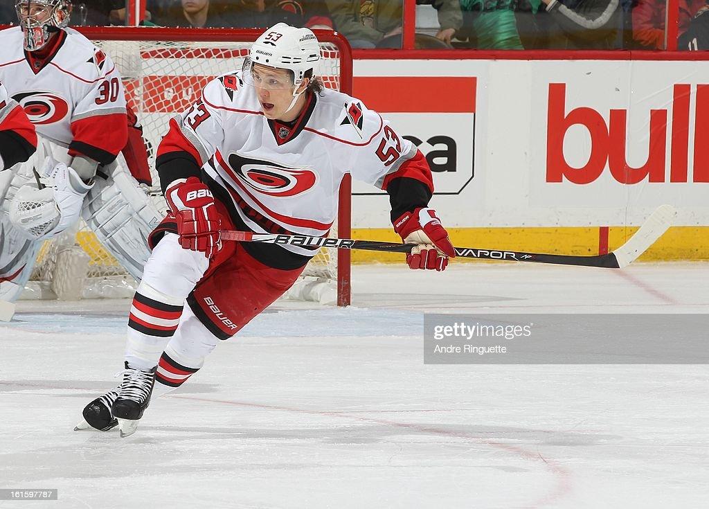Jeff Skinner #53 of the Carolina Hurricanes skates against the Ottawa Senators on February 7, 2013 at Scotiabank Place in Ottawa, Ontario, Canada.