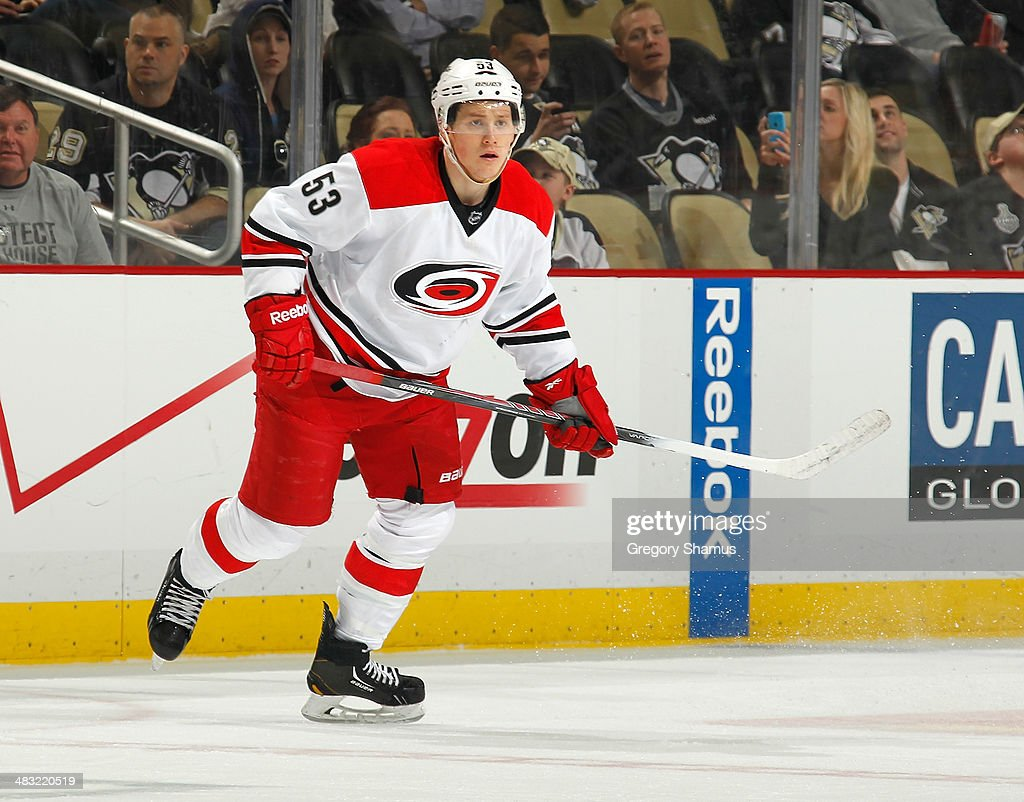 <a gi-track='captionPersonalityLinkClicked' href=/galleries/search?phrase=Jeff+Skinner&family=editorial&specificpeople=3147596 ng-click='$event.stopPropagation()'>Jeff Skinner</a> #53 of the Carolina Hurricanes skates against the Pittsburgh Penguins on April 1, 2014 at Consol Energy Center in Pittsburgh, Pennsylvania.