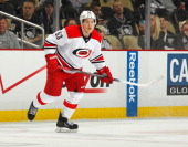 Jeff Skinner of the Carolina Hurricanes skates against the Pittsburgh Penguins on April 1 2014 at Consol Energy Center in Pittsburgh Pennsylvania