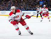 Jeff Skinner of the Carolina Hurricanes skates against the Tampa Bay Lightning at the Amalie Arena on December 11 2014 in Tampa Florida