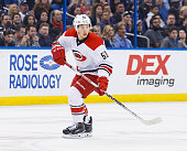 Jeff Skinner of the Carolina Hurricanes skates against the Tampa Bay Lightning at the Amalie Arena on March 5 2016 in Tampa Florida