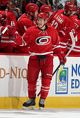 Jeff Skinner of the Carolina Hurricanes skates back to the bench after his secondperiod goal during an NHL game against the Calgary Flames at PNC...