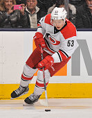Jeff Skinner of the Carolina Hurricanes skates during NHL game action against the Toronto Maple Leafs January 19 2015 at the Air Canada Centre in...