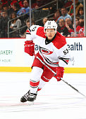 Jeff Skinner of the Carolina Hurricanes skates during the game against the New Jersey Devils at the Prudential Center on March 1 2016 in Newark New...