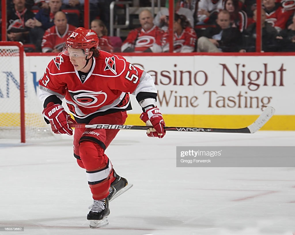 Jeff Skinner #53 of the Carolina Hurricanes skates for position on the ice during an NHL game against the Boston Bruins on January 28, 2013 at PNC Arena in Raleigh North Carolina.
