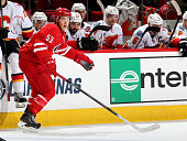 Jeff Skinner of the Carolina Hurricanes skates for position on the ice during an NHL game against the Calgary Flames at PNC Arena on November 10 2014...