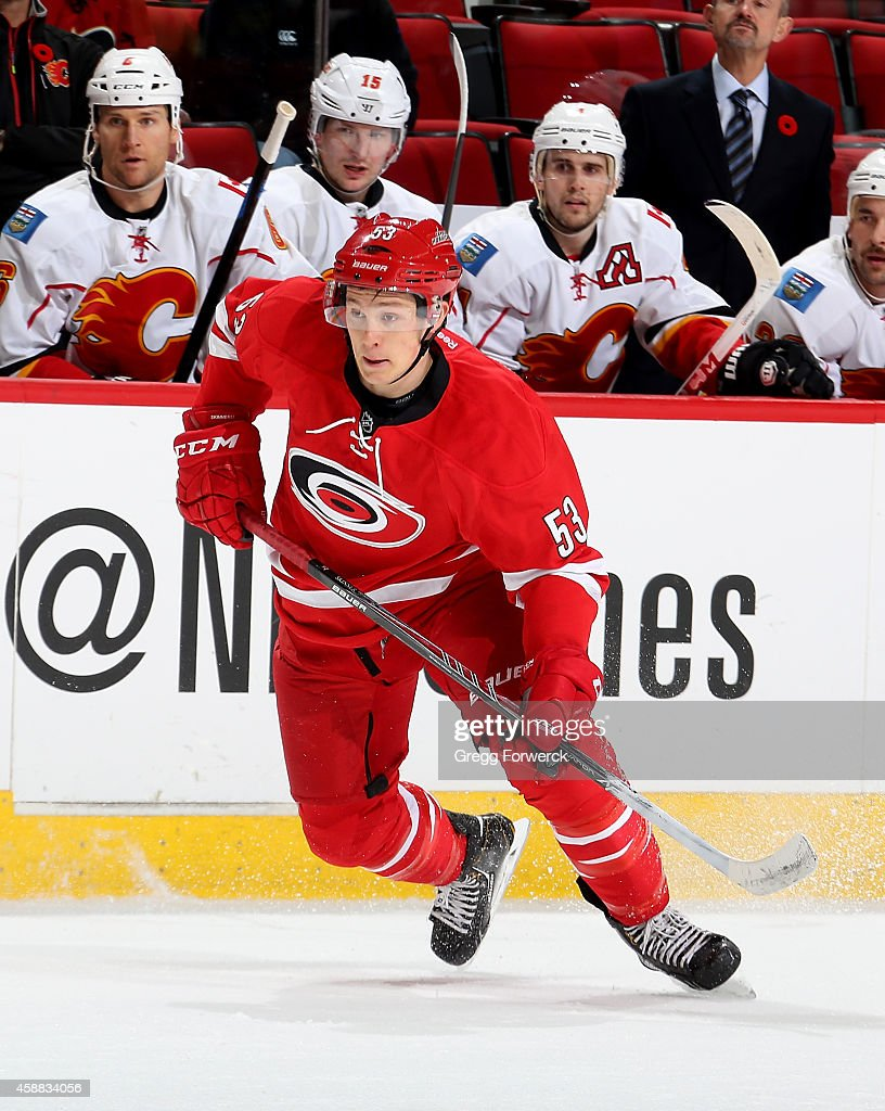 Jeff Skinner of the Carolina Hurricanes skates for position on the ice during their NHL game against the Calgary Flames at PNC Arena on November 10...