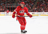 Jeff Skinner of the Carolina Hurricanes skates for position on the ice during their NHL game against the Pittsburgh Penguins at PNC Arena on November...