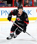 Jeff Skinner of the Carolina Hurricanes skates through open ice against the Arizona Coyotes during a NHL game at PNC Arena on December 6 2015 in...