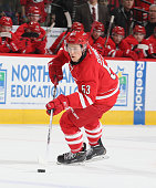 Jeff Skinner of the Carolina Hurricanes skates toward the goal during a shootout against the New York Rangers during their NHL game at PNC Arena on...