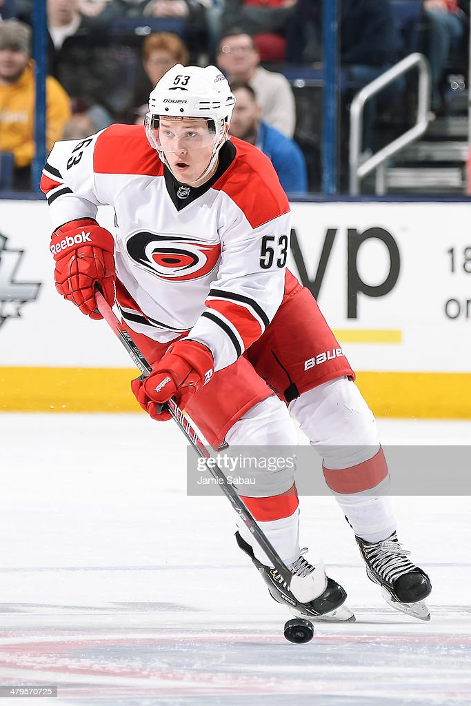 Jeff Skinner of the Carolina Hurricanes skates with the puck against the Columbus Blue Jackets on March 18 2014 at Nationwide Arena in Columbus Ohio