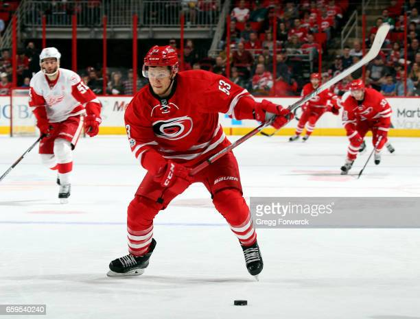 Jeff Skinner of the Carolina Hurricanes winds up for a shot during an NHL game against the Detroit Red Wings on March 28 2017 at PNC Arena in Raleigh...