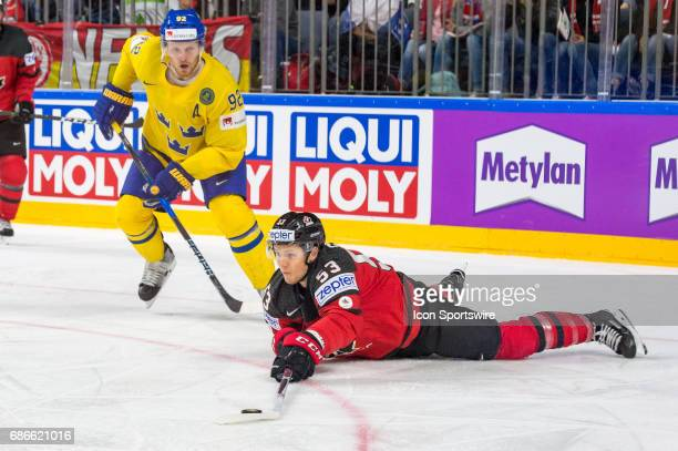 Jeff Skinner vies with Gabriel Landeskog during the Ice Hockey World Championship Gold medal game between Canada and Sweden at Lanxess Arena in...