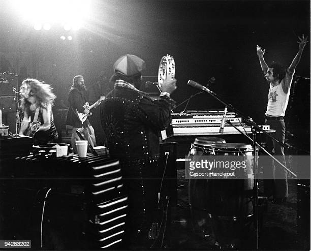 Jeff Skunk Baxter Denny Dias Royce Jones and Donald Fagen of Steely Dan perform on stage on July 3rd 1974 in Los Angeles California United States