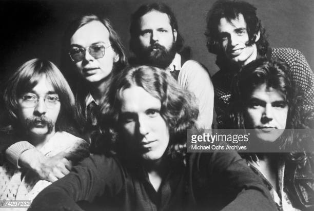 Jeff 'Skunk' Baxter Walter Becker David Palmer Denny Dias Donald Fagen and Jim Hodder of the rock band 'Steely Dan' pose for a portrait in 1972