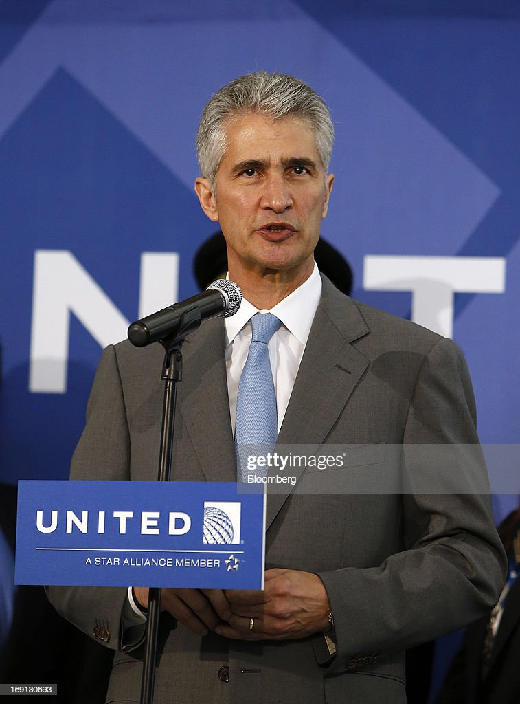 Jeff Smisek, chief executive officer of United Continental Holdings Inc., speaks during a news conference at George Bush Intercontinental Airport in Houston, Texas, U.S., on Monday, May 20, 2013. Boeing Co.'s 787 Dreamliner is poised to clear another hurdle in restoring its image as United Airlines, the only U.S. operator, resumes flights after the jet's lithium-ion battery flaws forced a three-month grounding. Photographer: Aaron M. Sprecher/Bloomberg via Getty Images