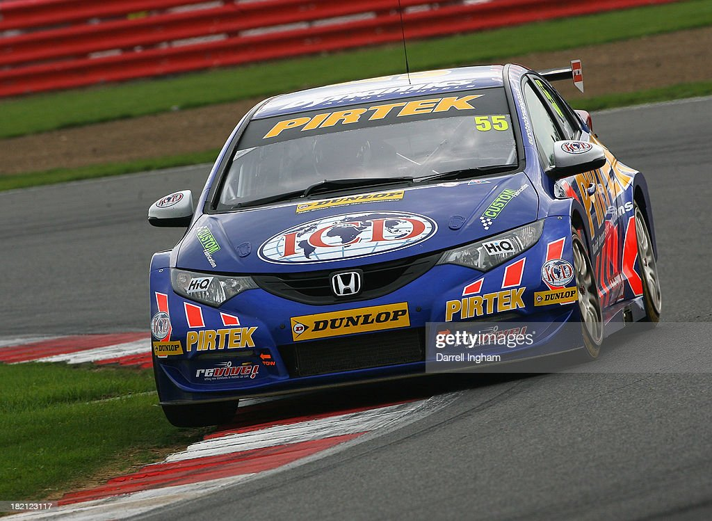 Jeff Smith drives the #55 Pirtek Racing Honda Civic during practice for the Dunlop MSA British Touring Car Championship race at the Silverstone Circuit on September 28, 2013 in Towcester, United Kingdom.