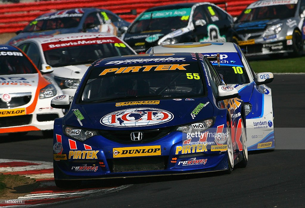 Jeff Smith drives the #55 Pirtek Racing Honda Civic during the Dunlop MSA British Touring Car Championship race at the Silverstone Circuit on September 29, 2013 in Towcester, United Kingdom.