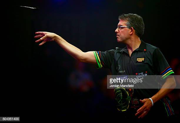 Jeff Smith of Canada throws during his Men's final match against Scott Waites of England during Day Nine of the BDO Lakeside World Professional Darts...