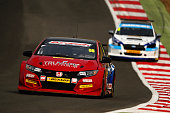 Jeff Smith of Eurotec Racing Honda drives during race one of the Dunlop MSA British Touring Car Championship at Brands Hatch on April 3 2016 in...