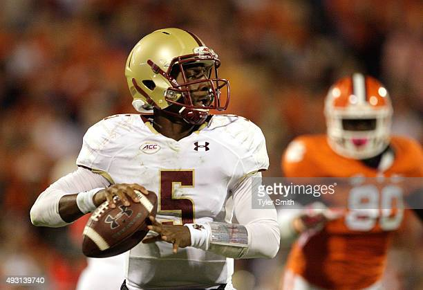Jeff Smith of the Boston College Eagles throws the ball during the game against the Clemson Tigers at Memorial Stadium on October 17 2015 in Clemson...