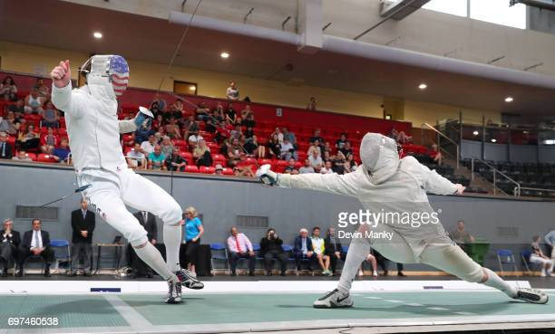 Jeff Spear of the USA evades a lunge by Shaul Gordon of Canada during the gold medal match in the Team Men's Sabre event on June 18 2017 at the...