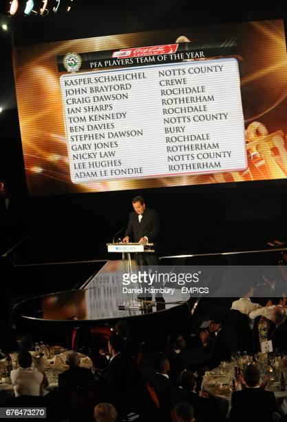 Jeff Stelling announces the PFA Players Team of the Year for Coca Cola League Two at the PFA Player of the Year Awards 2010 at the Grosvenor House...