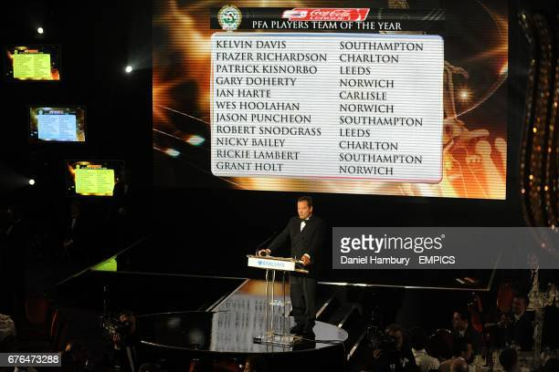 Jeff Stelling announces the PFA Players Team of the Year for Coca Cola League One at the PFA Player of the Year Awards 2010 at the Grosvenor House...