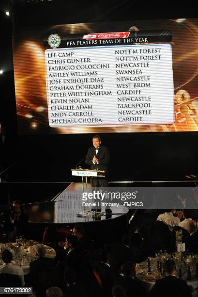 Jeff Stelling announces the PFA Players Team of the Year for the Coca Cola Championship at the PFA Player of the Year Awards 2010 at the Grosvenor...