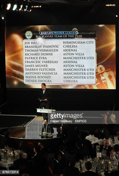 Jeff Stelling announces the PFA Players Team of the Year for the Barclays Premier League at the PFA Player of the Year Awards 2010 at the Grosvenor...