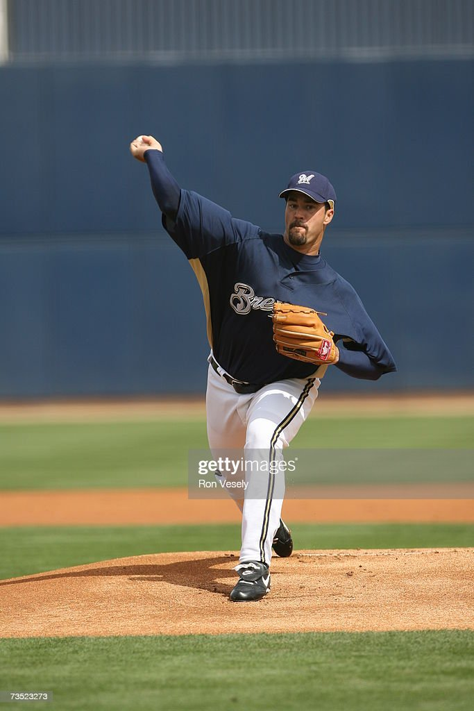 Jeff Suppan of the Milwaukee Brewers pitches during the game against the Chicago White Sox at Maryvale Baseball Park in Maryvale Arizona on March 5...