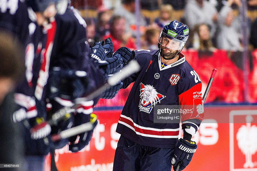 Jeff Taffe #20 of Linkoping celebrates after a goal during the Champions Hockey League group stage game between Linkoping HC and HC Bolzano on August 24, 2014 in Linkoping, Sweden.
