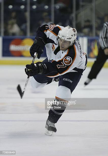 Jeff Tambellini of the Bridgeport Sound Tigers skates against the Albany River Rats at the Arena at Harbor Yard on November 26 2006 in Bridgeport...