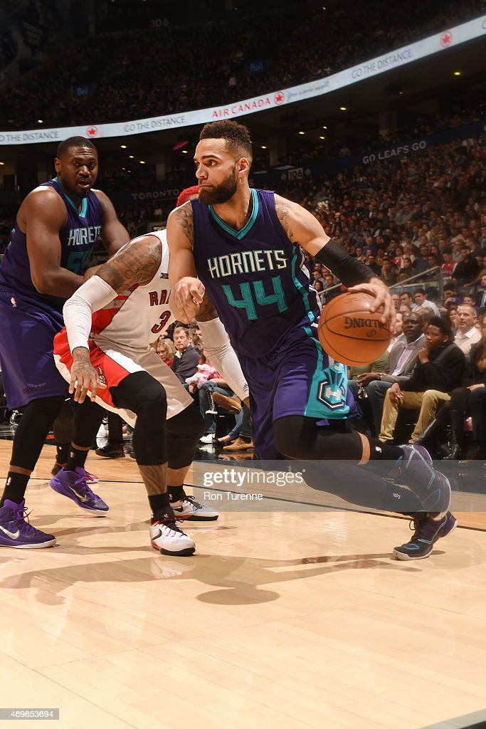 Jeff Taylor of the Charlotte Hornets drives to the basket against the Toronto Raptors during the game on April 15 2015 at Air Canda Centre in Toronto...