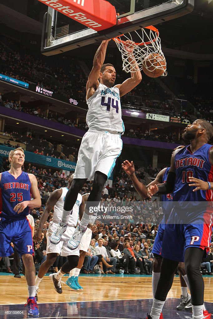 Jeff Taylor of the Charlotte Hornets dunks against the Detroit Pistons at the Time Warner Cable Arena on February 10 2015 in Charlotte North Carolina...