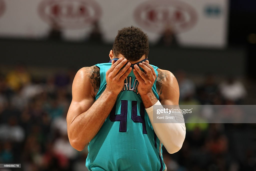 Jeff Taylor of the Charlotte Hornets gets ready to shoot a free throw against the Toronto Raptors during the game at the Time Warner Cable Arena on...