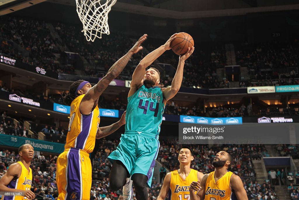 Jeff Taylor of the Charlotte Hornets goes for the layup against the Los Angeles Lakers during the game at the Time Warner Cable Arena on March 3 2015...